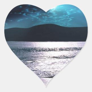 Tranquility Beach Moonrise Heart Sticker