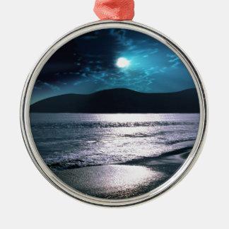 Tranquility Beach Moonrise Metal Ornament