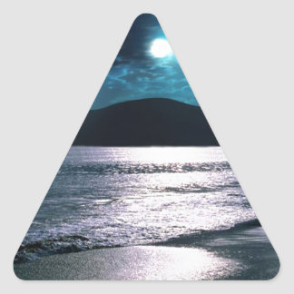 Tranquility Beach Moonrise Triangle Sticker
