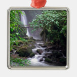 Tranquility cascading waterfall Costa Rica Square Metal Christmas Ornament
