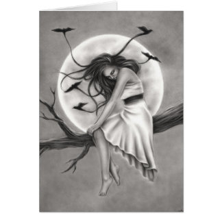 Tranquility Flying Birds Girl Greeting Card