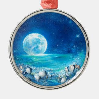 Tranquility, Full Moon, Meditation Metal Ornament