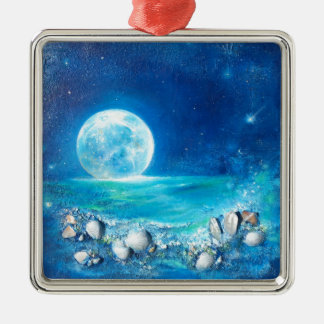 Tranquility, Full Moon, Meditation Metal Ornament