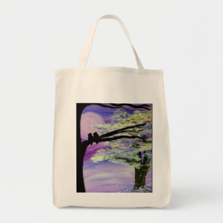 Tranquility grocery tote bag