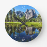 Tranquility In Yosemite Round Clock