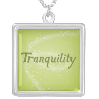 Tranquility on a Calming Green Background Silver Plated Necklace