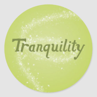 Tranquility on a Calming Green Background Classic Round Sticker