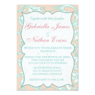 TRANQUILITY|Pink Blush & Soft Aqua Vintage Wedding Card