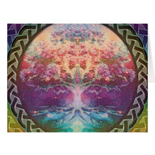 Tranquility Tree of Life in Rainbow Colors Greeting Cards