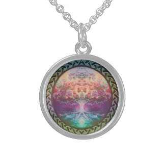 Tranquility Tree of Life in Rainbow Colors Sterling Silver Necklace