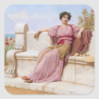 tranquillity oil painting square sticker