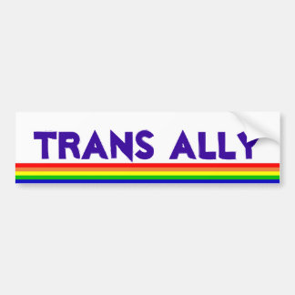 Trans Ally, rainbow Bumper Sticker