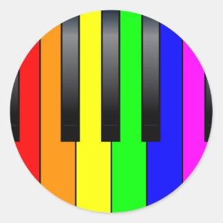Trans Gay Piano Keys Classic Round Sticker