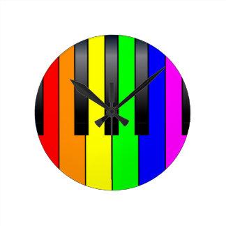 Trans Gay Piano Keys Round Clock