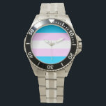 "Trans pride flag wristwatch<br><div class=""desc"">Show off your pride wherever you go with this stylish watch.</div>"