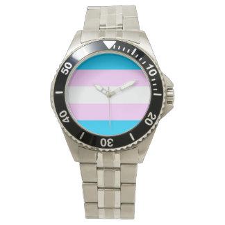 Trans pride flag wristwatch