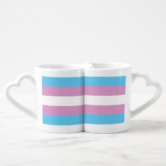 TRANS PRIDE STRIPED HORIZONTAL - 2014 PRIDE.png Couples' Coffee Mug Set