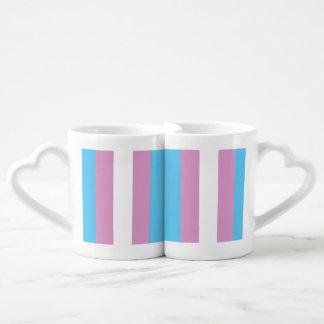TRANS PRIDE STRIPED VERTICAL - 2014 PRIDE.png Couples' Coffee Mug Set