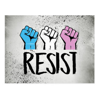 Trans Resistance - Trans Flag and Fist - Trans Pri Postcard