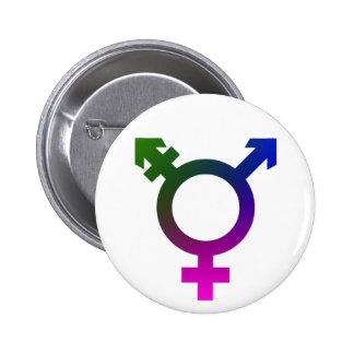 Trans* Symbol pink/blue/green 2 Inch Round Button