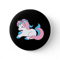 Trans unicorn pinback button