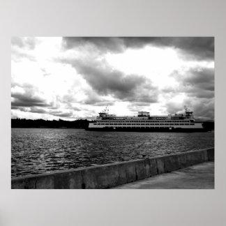 Transbordador a Seattle - blanco y negro Posters