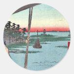Transbordador de Haneda y capilla de Benten por Etiqueta Redonda