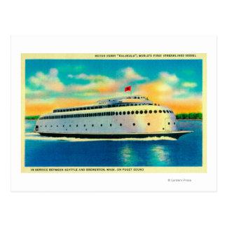 Transbordador de Kalakala, mundo primer Postales