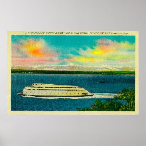 Transbordador de Kalakala, Puget Sound, montañas o Poster