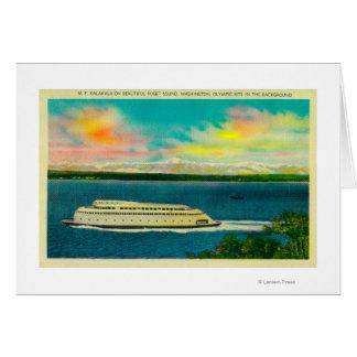 Transbordador de Kalakala, Puget Sound, montañas o Tarjeta De Felicitación
