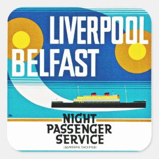 Transbordador de Liverpool - de Belfast Pegatina Cuadrada