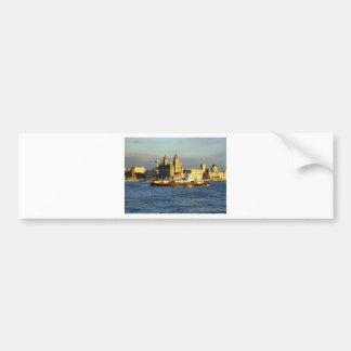 Transbordador de Mersey y costa de Liverpool Pegatina De Parachoque