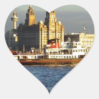 Transbordador de Mersey y costa de Liverpool Pegatina En Forma De Corazón