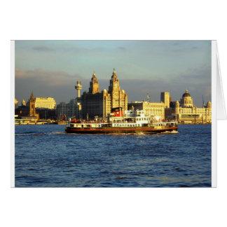 Transbordador de Mersey y costa de Liverpool Tarjeta De Felicitación