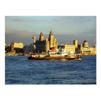 Transbordador de Mersey y costa de Liverpool Tarjeta Postal