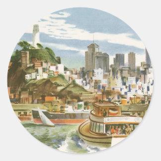 Transbordador de San Francisco Bay del poster del Pegatina Redonda