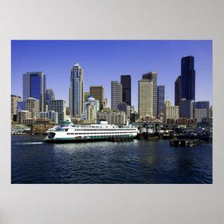 Transbordador de Seattle y poster de los edificios