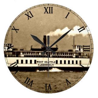 Transbordador del barco de vapor de la sepia reloj redondo grande
