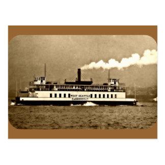 Transbordador del barco de vapor de la sepia tarjeta postal