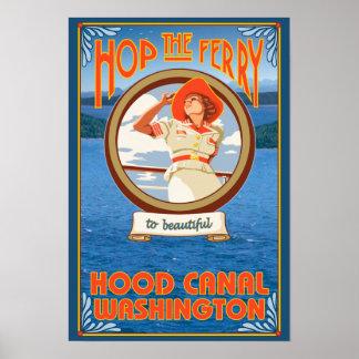 Transbordador del montar a caballo de la mujer - c póster