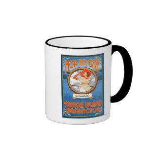Transbordador del montar a caballo de la mujer - i tazas de café