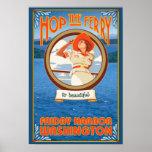Transbordador del montar a caballo de la mujer - p poster