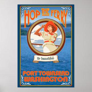 Transbordador del montar a caballo de la mujer - p póster