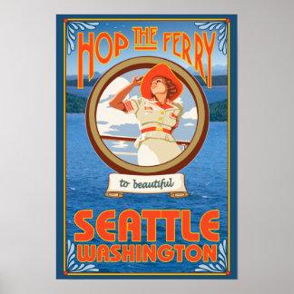 Transbordador del montar a caballo de la mujer - S Posters