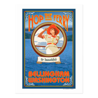 Transbordador del montar a caballo de la mujer - tarjeta postal