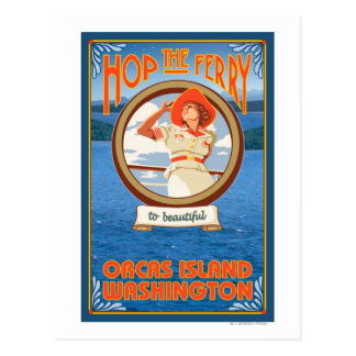 Transbordador del montar a caballo de la mujer - tarjetas postales