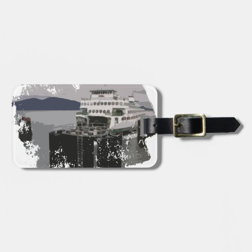 Transbordador en negro y blanco etiquetas maletas