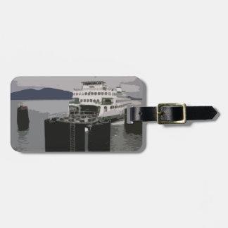 Transbordador en negro y blanco etiquetas para maletas