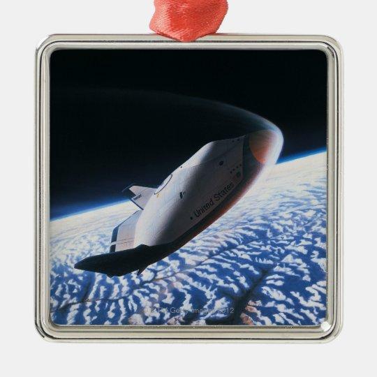 Transbordador espacial 4 adorno navideño cuadrado de metal