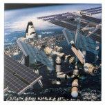 Transbordador espacial atracado azulejo cuadrado grande
